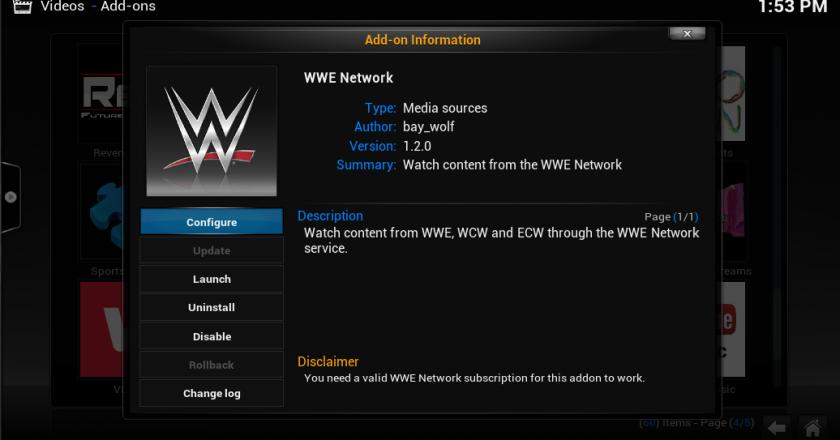 Install The WWE Network on Kodi