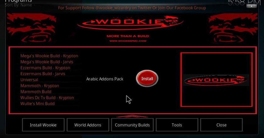 Install Wookie WizardonKodi 17